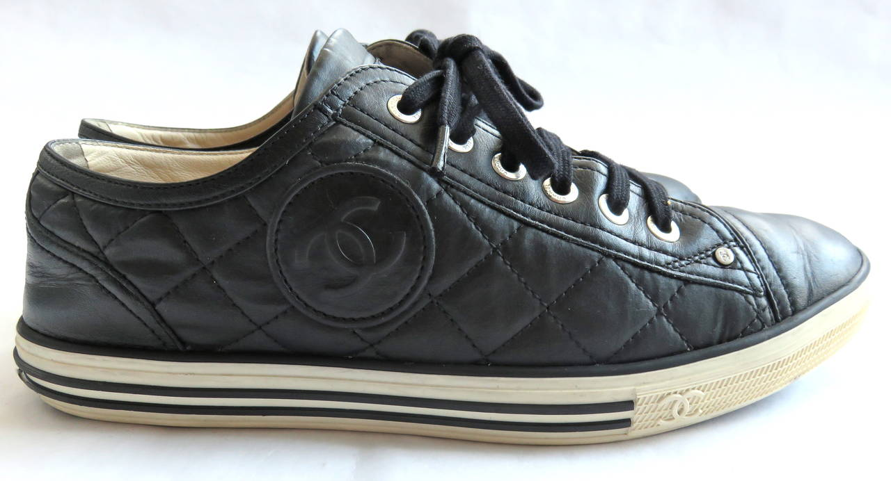 chanel black quilted logo tennis shoes sneakers image 2