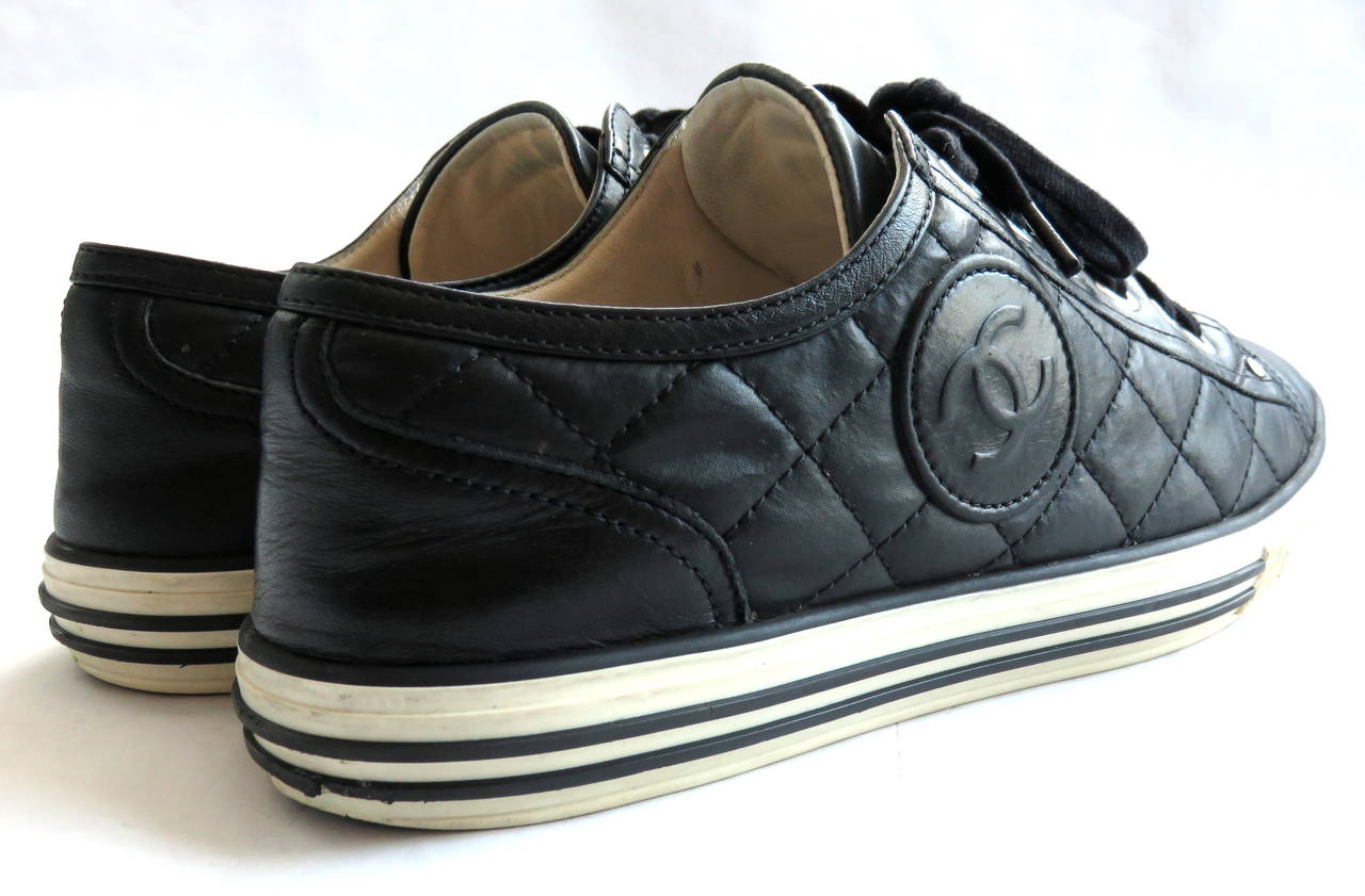 chanel black quilted logo tennis shoes sneakers image 5