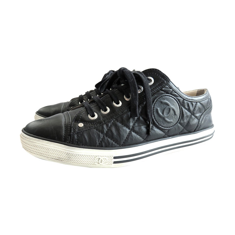 chanel black quilted logo tennis shoes sneakers at