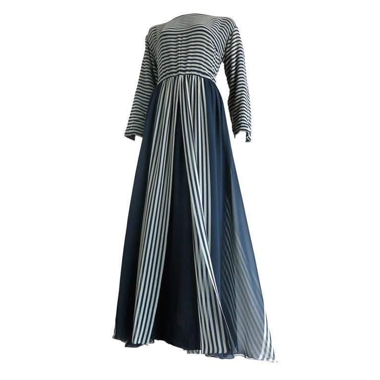 Vintage CHANEL Navy silk stripe dress at 1stdibs