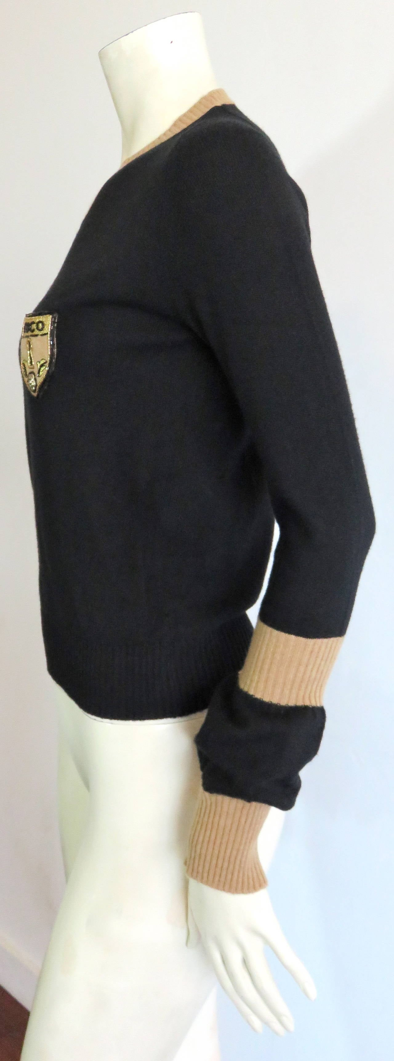 chanel paris pure cashmere coco shield sweater at 1stdibs. Black Bedroom Furniture Sets. Home Design Ideas