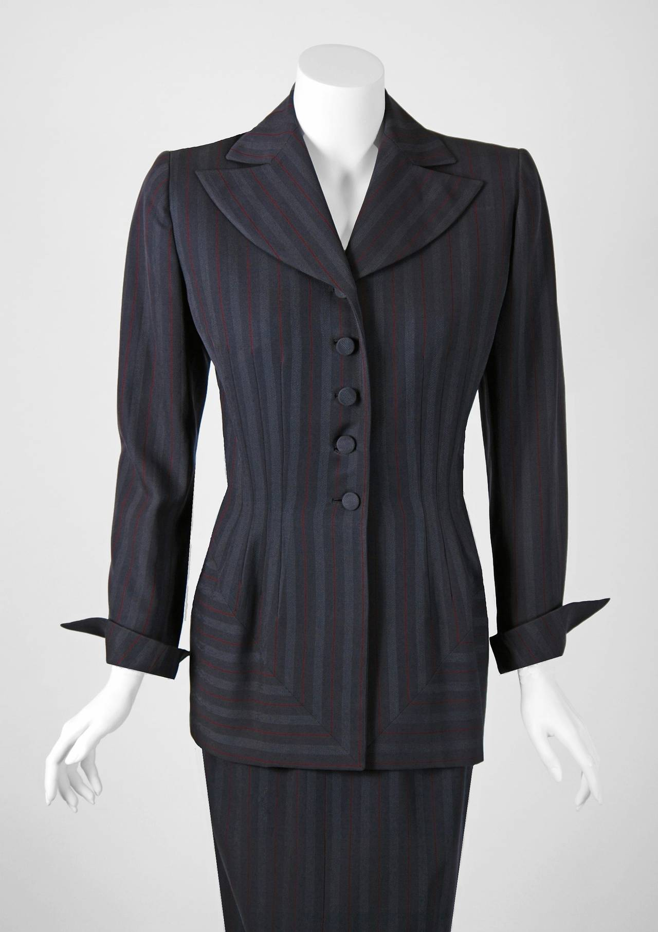 1940's Irene Grey Pinstripe Wool-Gabardine Deco Hourglass Jacket & Skirt Suit 2