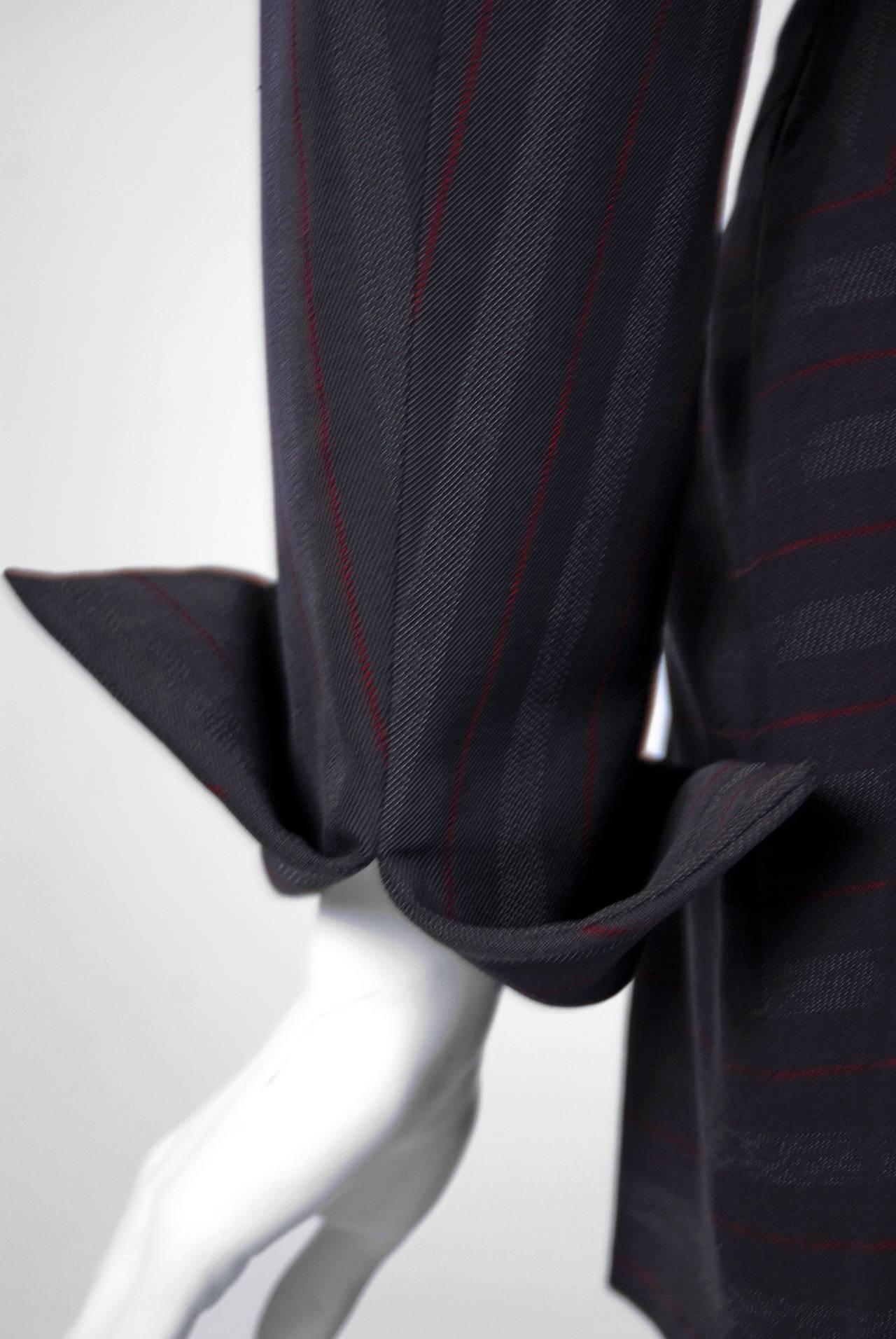 Black 1940's Irene Grey Pinstripe Wool-Gabardine Deco Hourglass Jacket & Skirt Suit For Sale