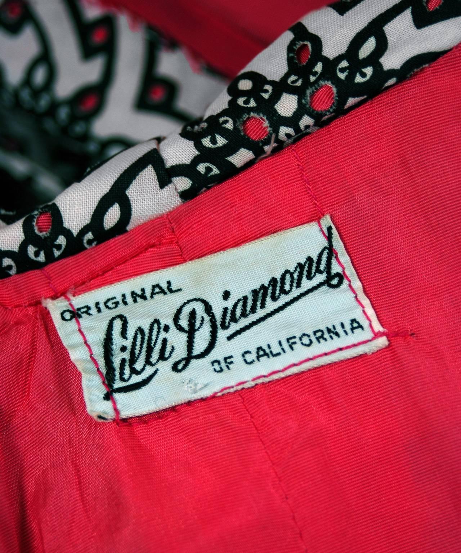 1950's Lilli Diamond Atomic Novelty Cutwork Cotton Strapless Sun Dress & Coat For Sale 2