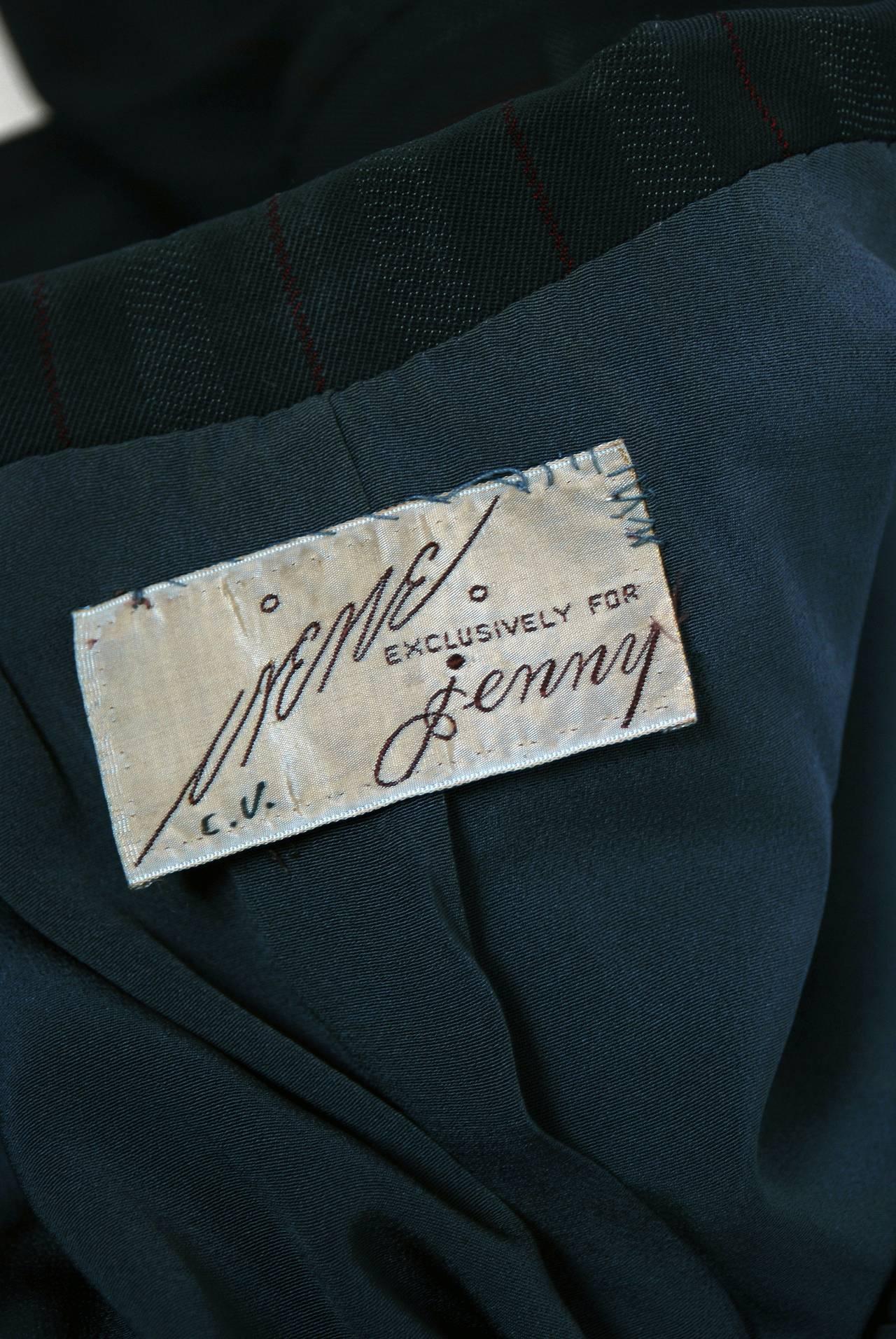 1940's Irene Grey Pinstripe Wool-Gabardine Deco Hourglass Jacket & Skirt Suit For Sale 1