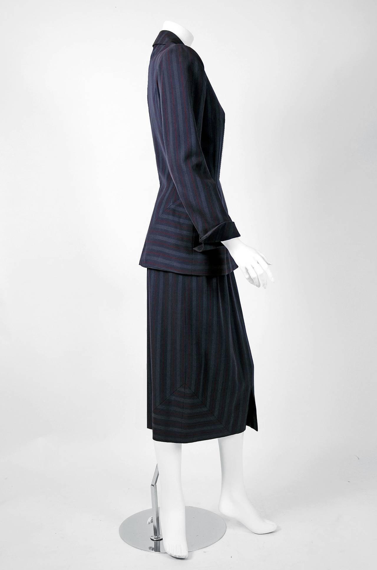1940's Irene Grey Pinstripe Wool-Gabardine Deco Hourglass Jacket & Skirt Suit In Excellent Condition For Sale In Beverly Hills, CA