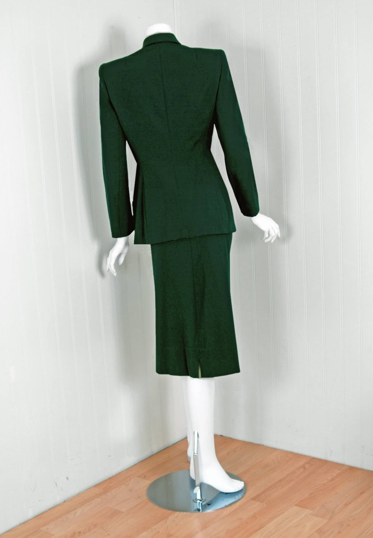 1940u0027s elegant forestgreen gabardine decopockets tailored jacket u0026 skirt