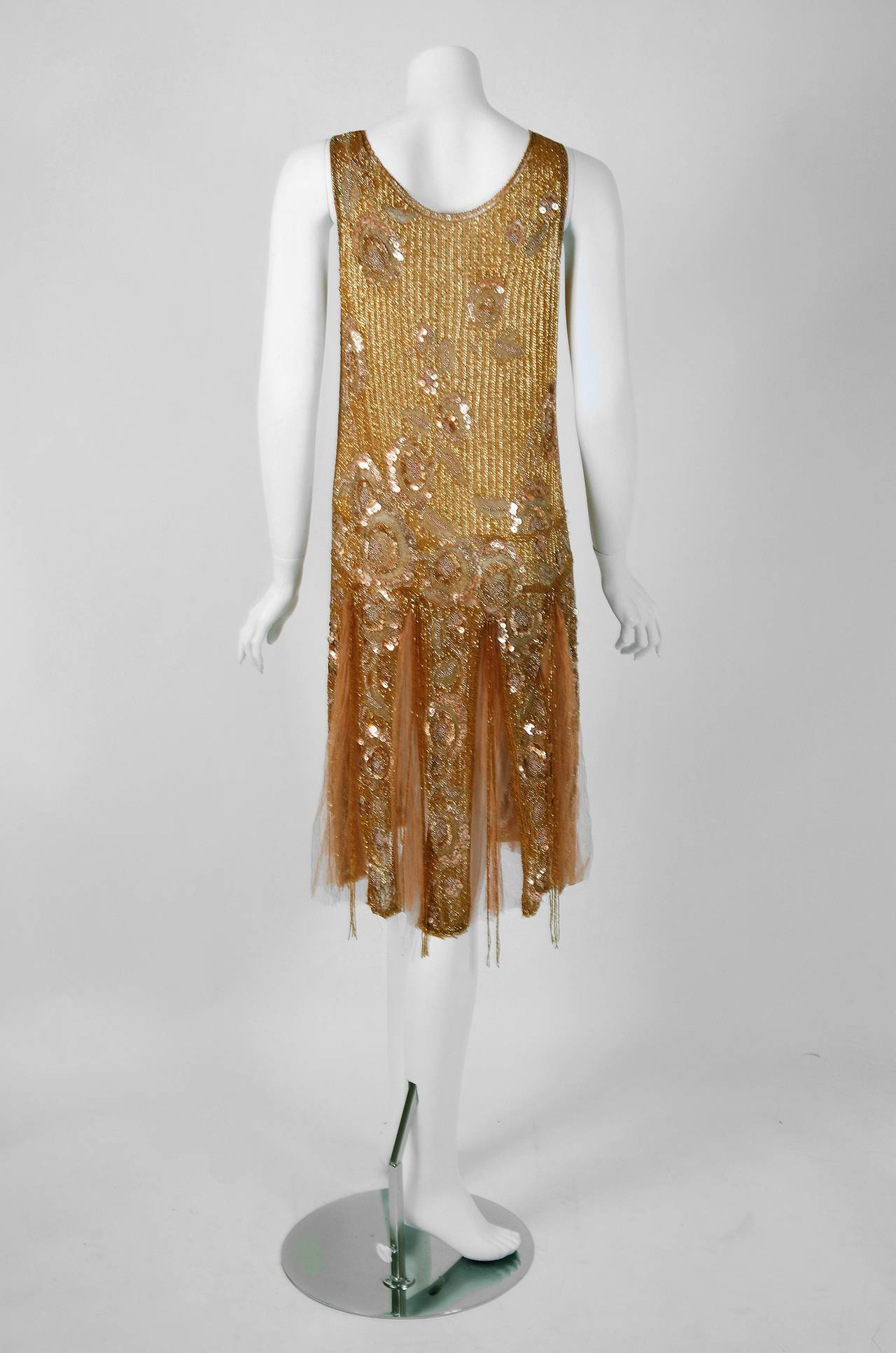 Women's 1920's French Metallic-Gold Beaded Sequin Deco Silk-Chiffon Flapper Dress & Coat For Sale