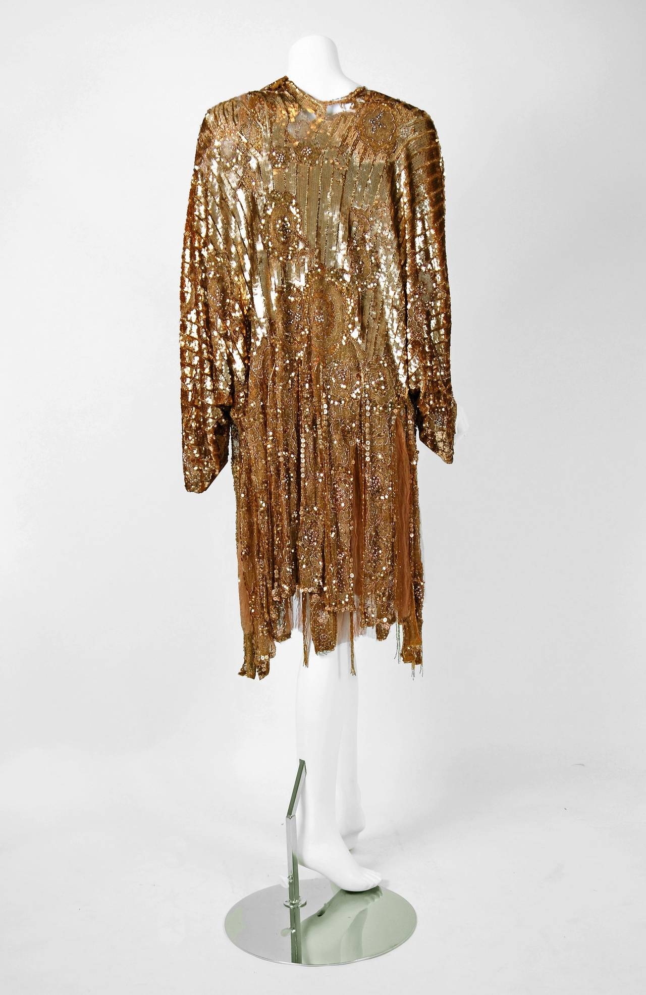 1920's French Metallic-Gold Beaded Sequin Deco Silk-Chiffon Flapper Dress & Coat For Sale 1