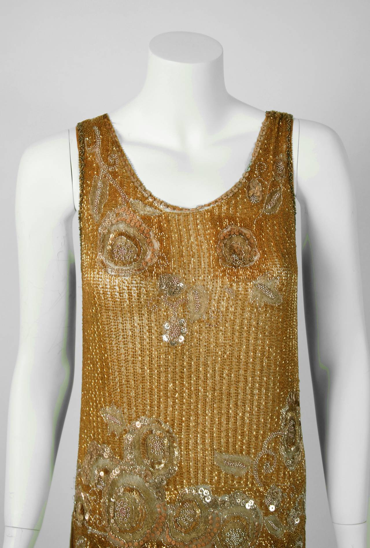 Brown 1920's French Metallic-Gold Beaded Sequin Deco Silk-Chiffon Flapper Dress & Coat For Sale