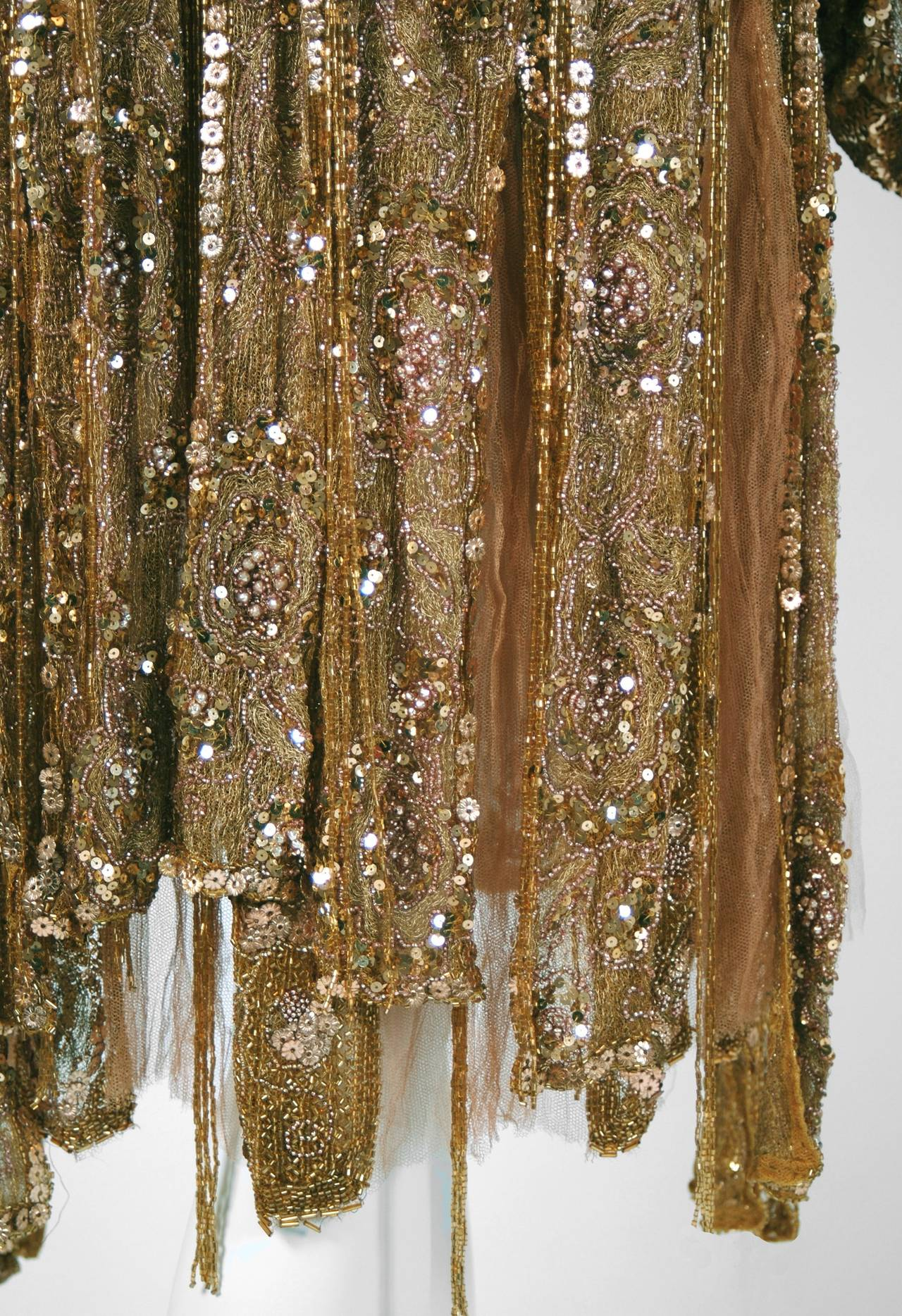 1920's French Metallic-Gold Beaded Sequin Deco Silk-Chiffon Flapper Dress & Coat For Sale 2