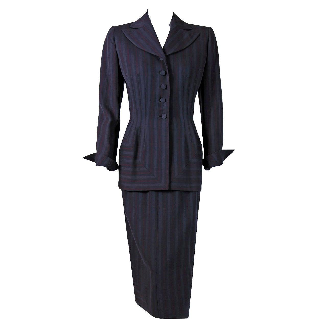 1940's Irene Grey Pinstripe Wool-Gabardine Deco Hourglass Jacket & Skirt Suit For Sale
