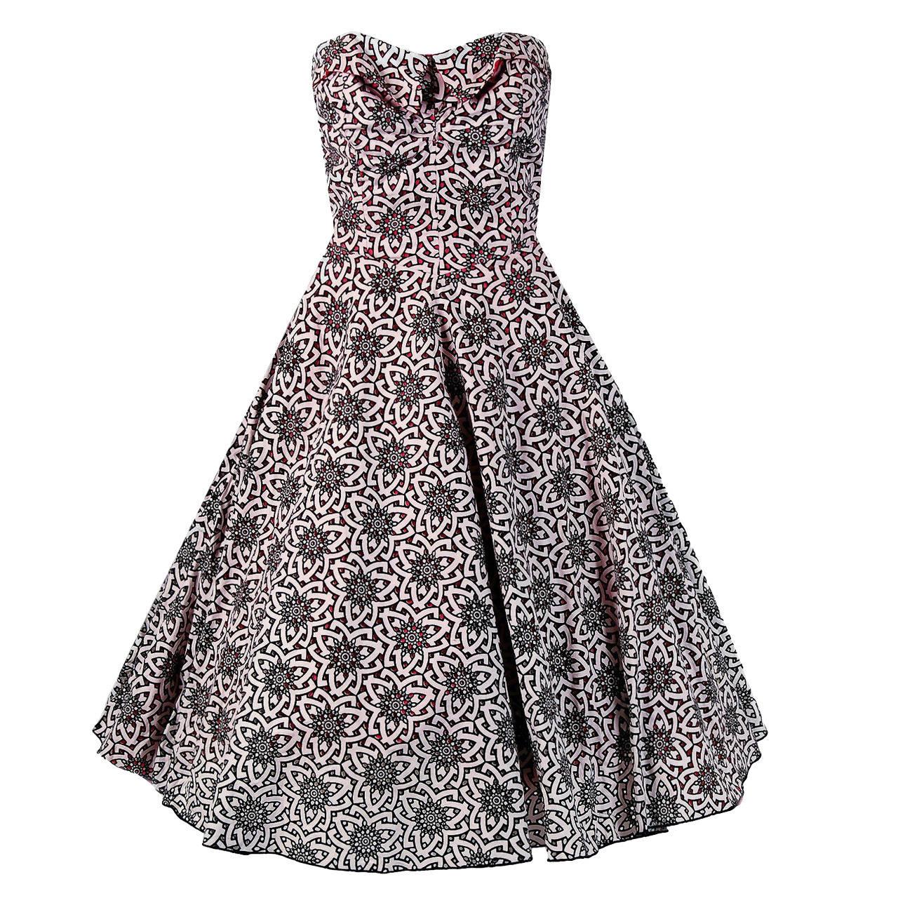 1950's Lilli Diamond Atomic Novelty Cutwork Cotton Strapless Sun Dress & Coat For Sale
