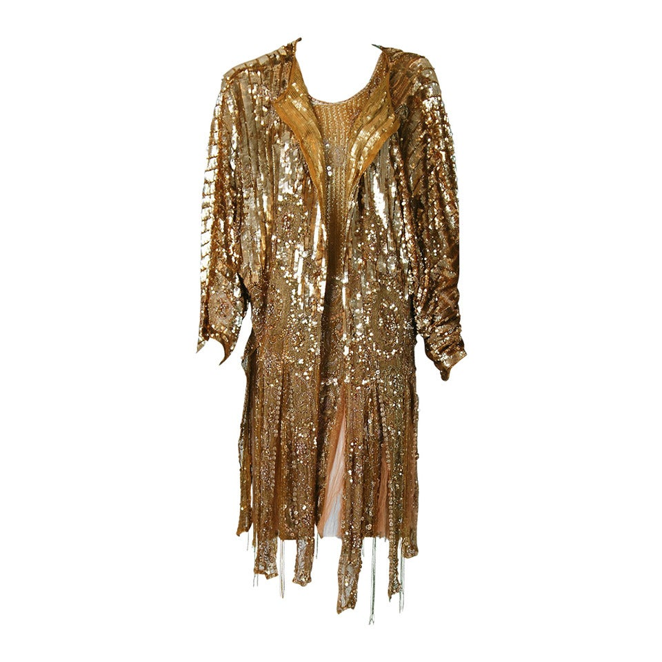 1920's French Metallic-Gold Beaded Sequin Deco Silk-Chiffon Flapper Dress & Coat For Sale