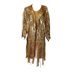 1920's French Metallic-Gold Beaded Sequin Deco Silk-Chiffon Flapper Dress & Coat