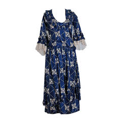 1920's French Couture Navy-Blue Deco Novelty Print Silk Avant-Garde Dress