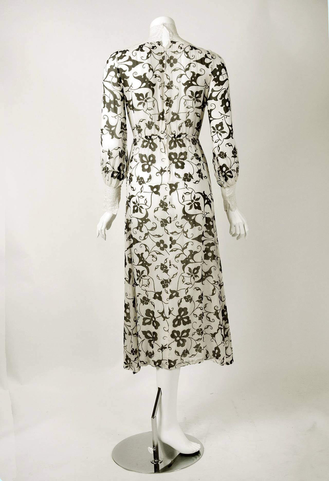 1970's Thea Porter Couture Gold Printed Silk & White Lace Billow-Sleeve Dress 4