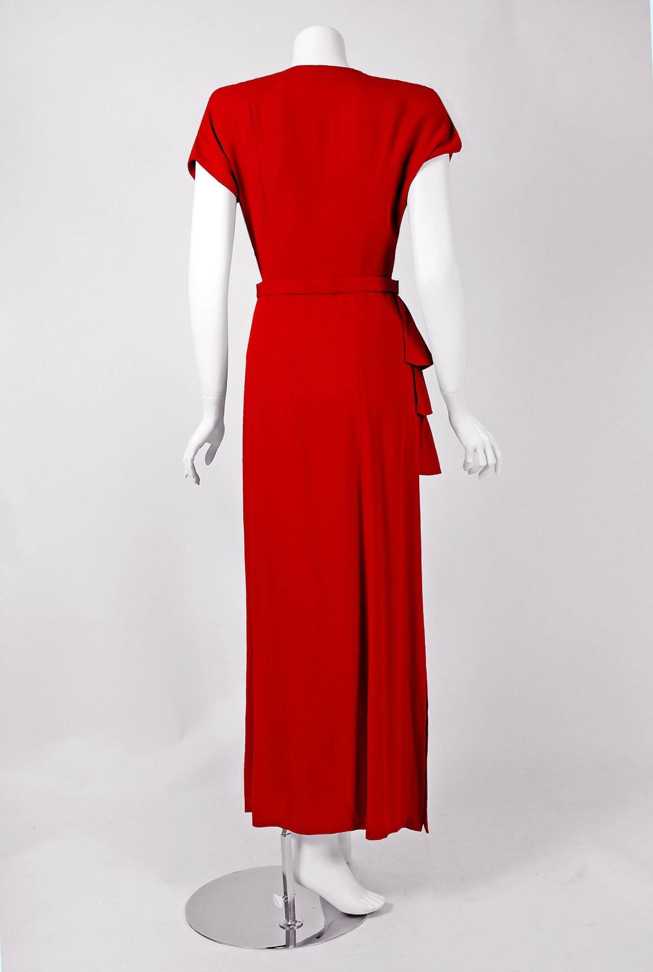 1940's Ruby-Red Beaded Crepe Belted Peplum Hourglass Evening Dress Gown 5