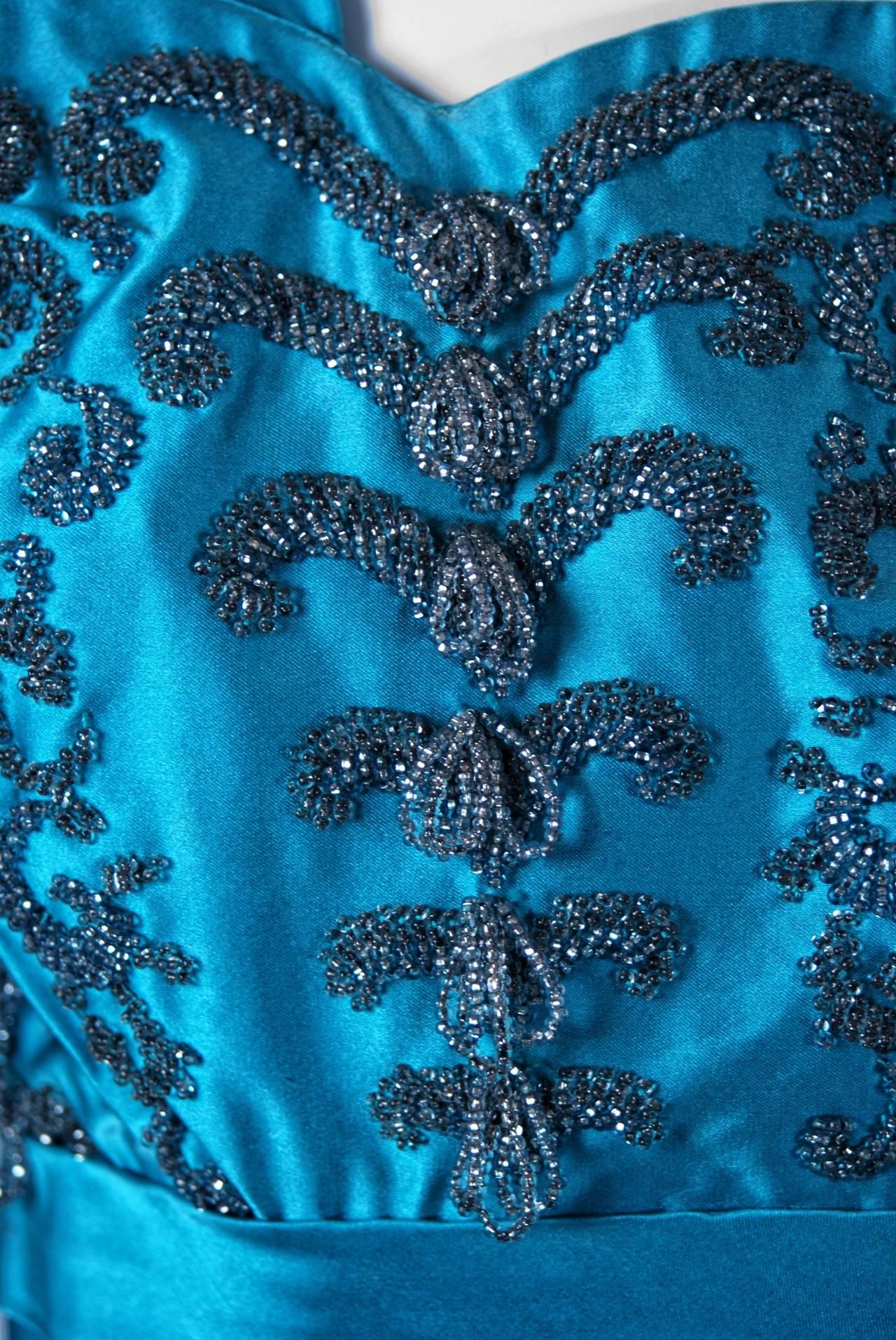 Women's 1950's Ceil Chapman Turquoise-Blue Beaded Satin Shelf-Bust Draped Cocktail Dress For Sale