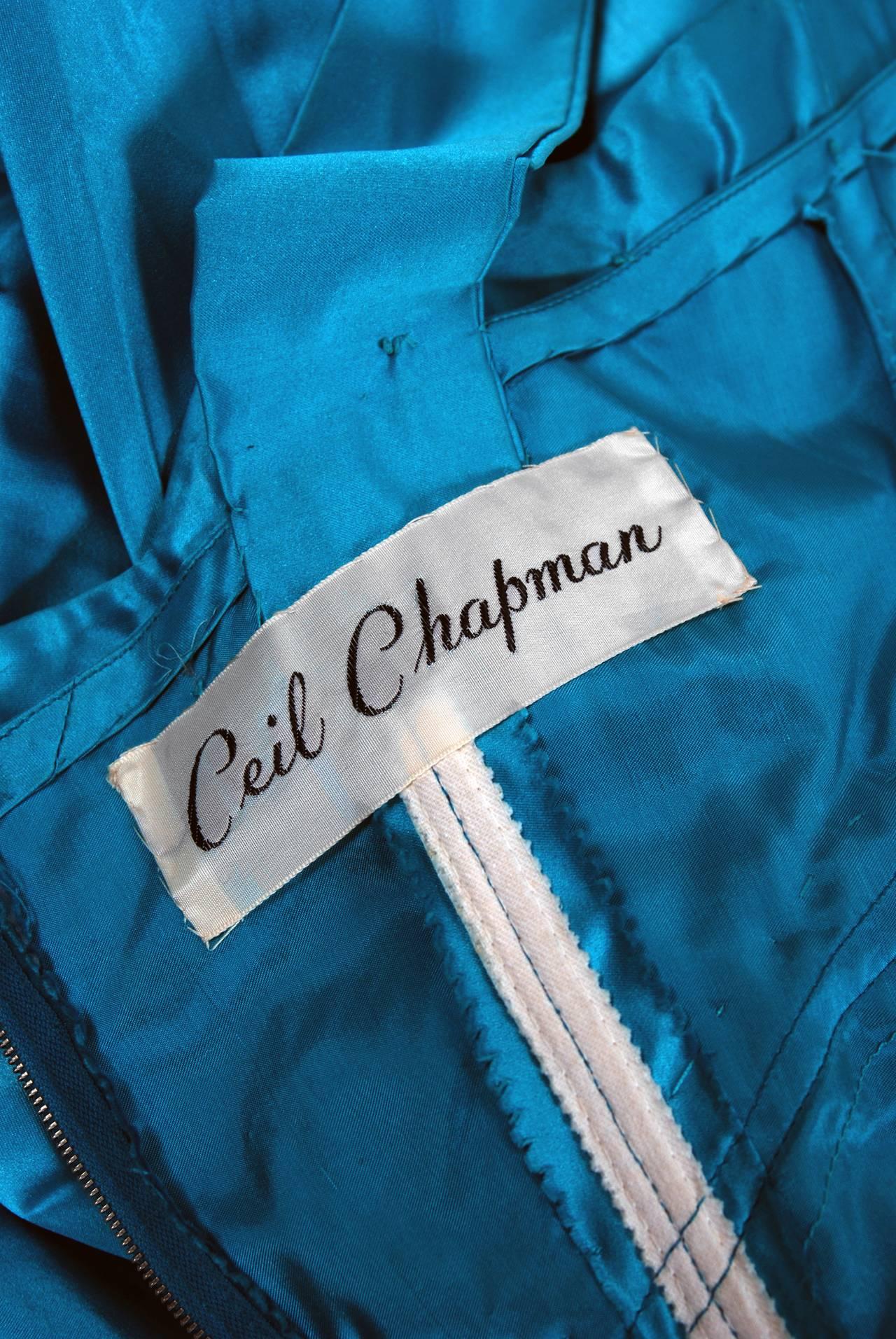 1950's Ceil Chapman Turquoise-Blue Beaded Satin Shelf-Bust Draped Cocktail Dress For Sale 2