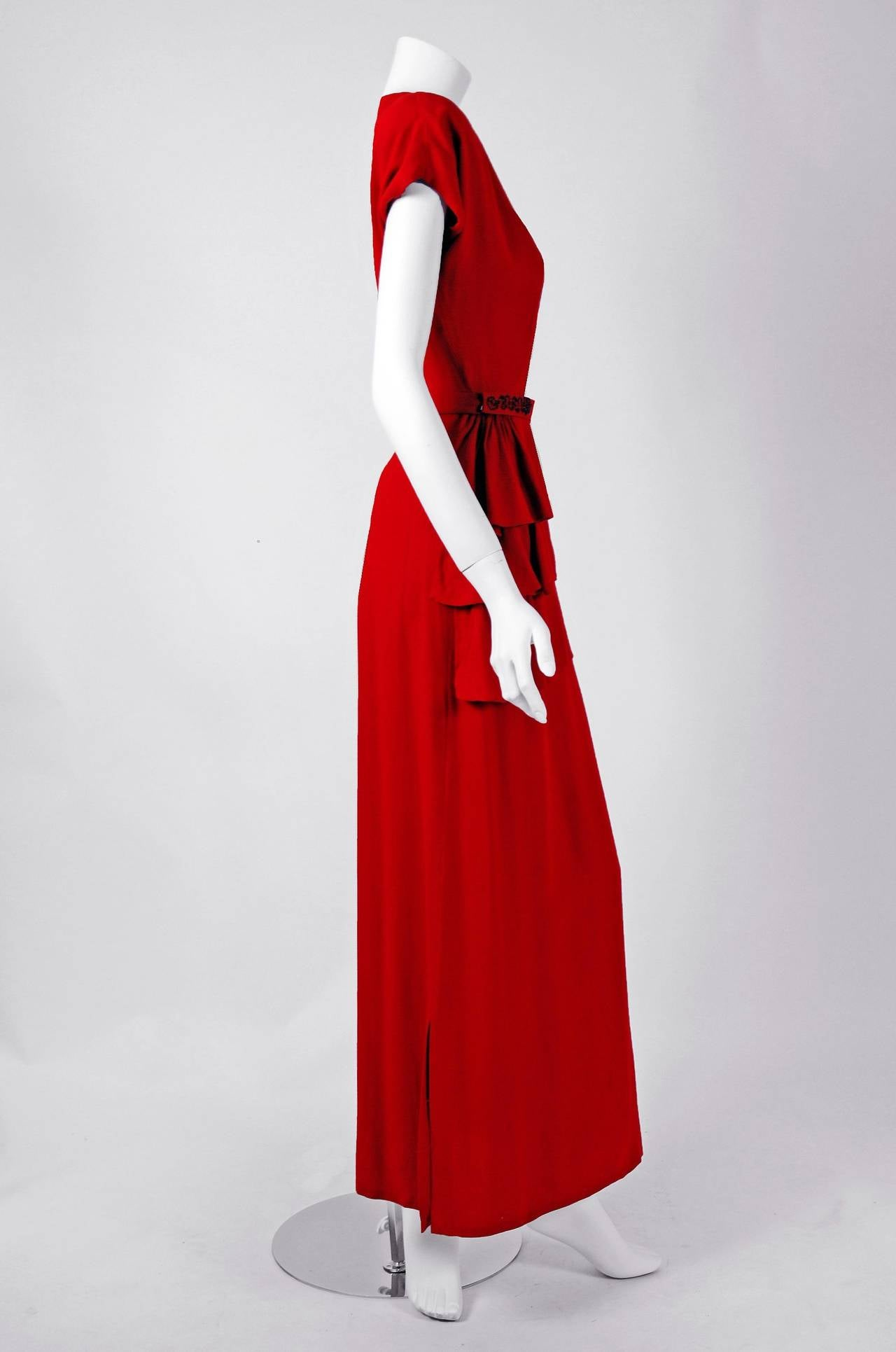 1940's Ruby-Red Beaded Crepe Belted Peplum Hourglass Evening Dress Gown 4