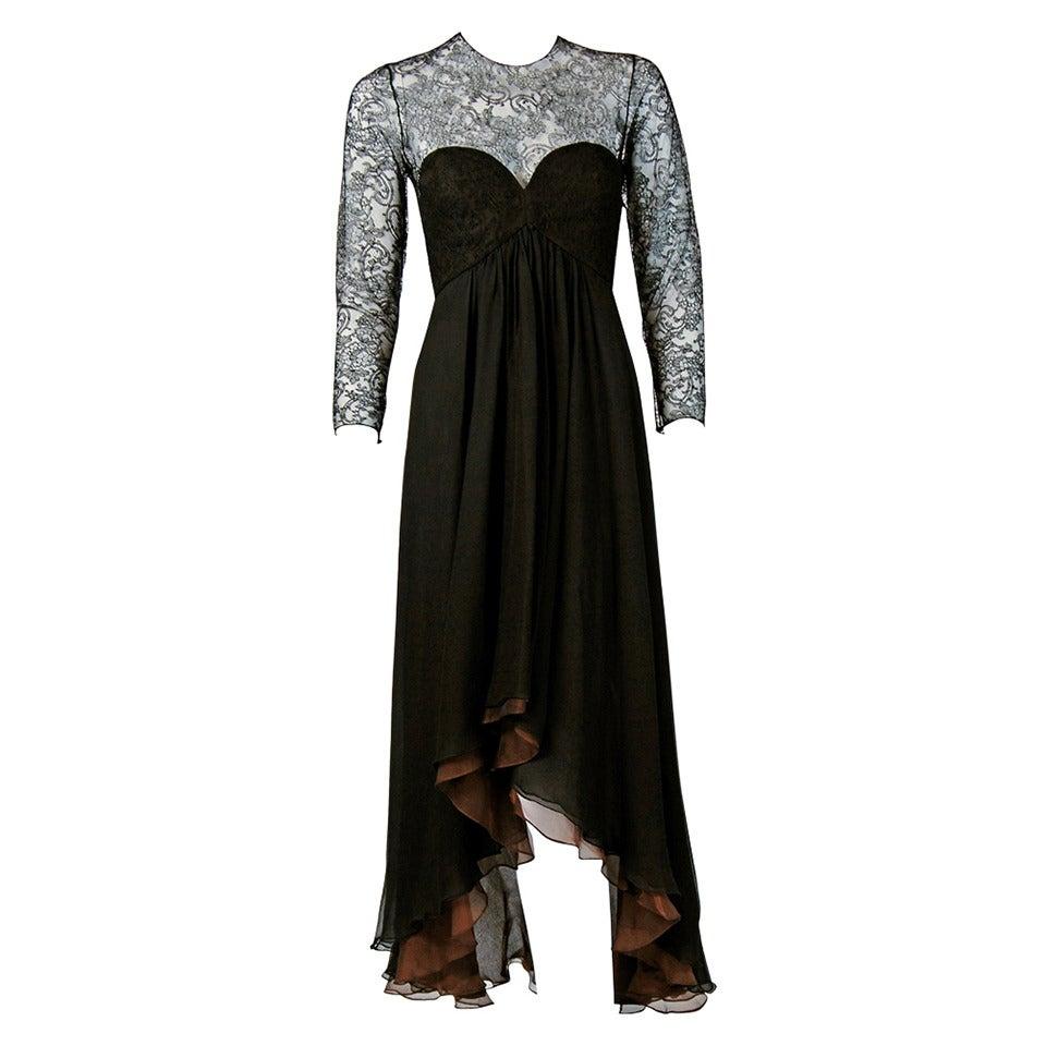 1990's Oscar de la Renta Black Lace Illusion & Mocha Silk-Chiffon Sculpted Dress