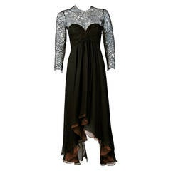 1990's Oscar de la Renta Black Lace Illusion & Mocha Silk-Chiffon Sculpted Dress