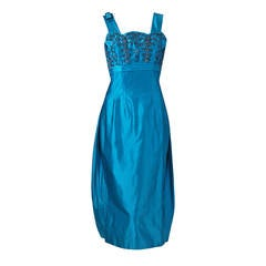1950's Ceil Chapman Turquoise-Blue Beaded Satin Shelf-Bust Draped Cocktail Dress