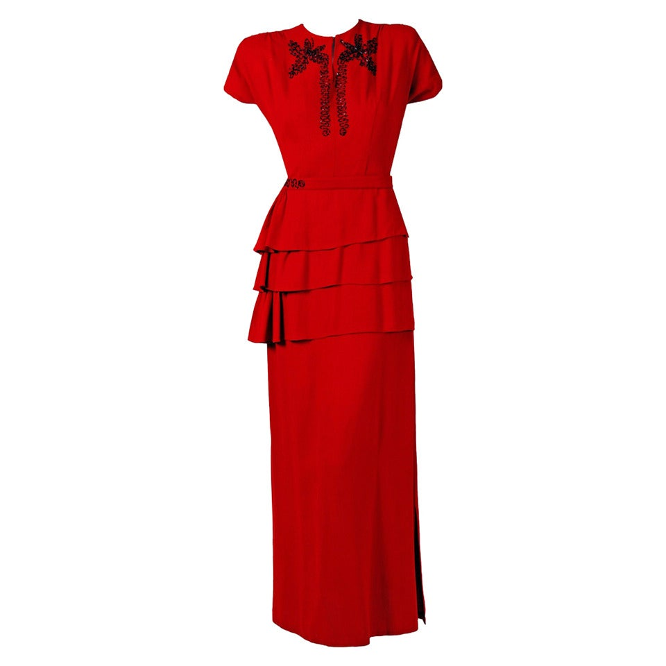 1940's Ruby-Red Beaded Crepe Belted Peplum Hourglass Evening Dress Gown 1