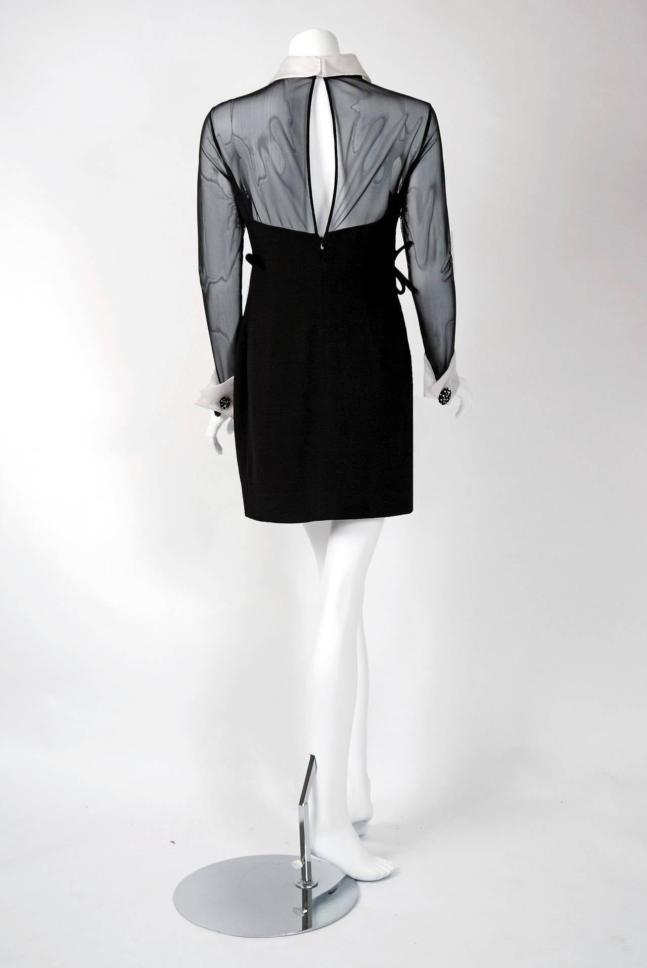 1990's Christian Dior Black Strapless-Illusion Collar & Cuffs Mini Party Dress 5