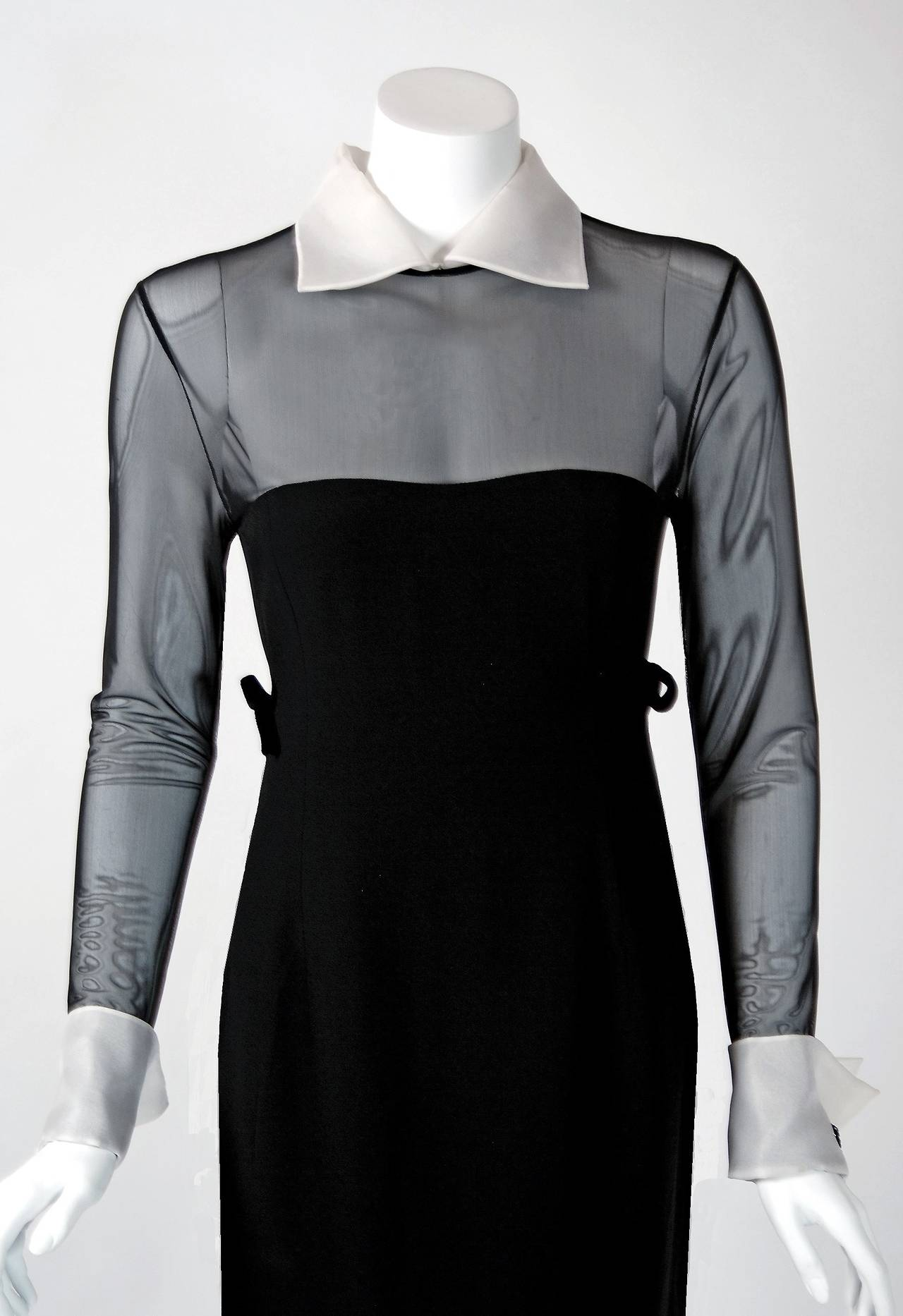 1990's Christian Dior Black Strapless-Illusion Collar & Cuffs Mini Party Dress 2