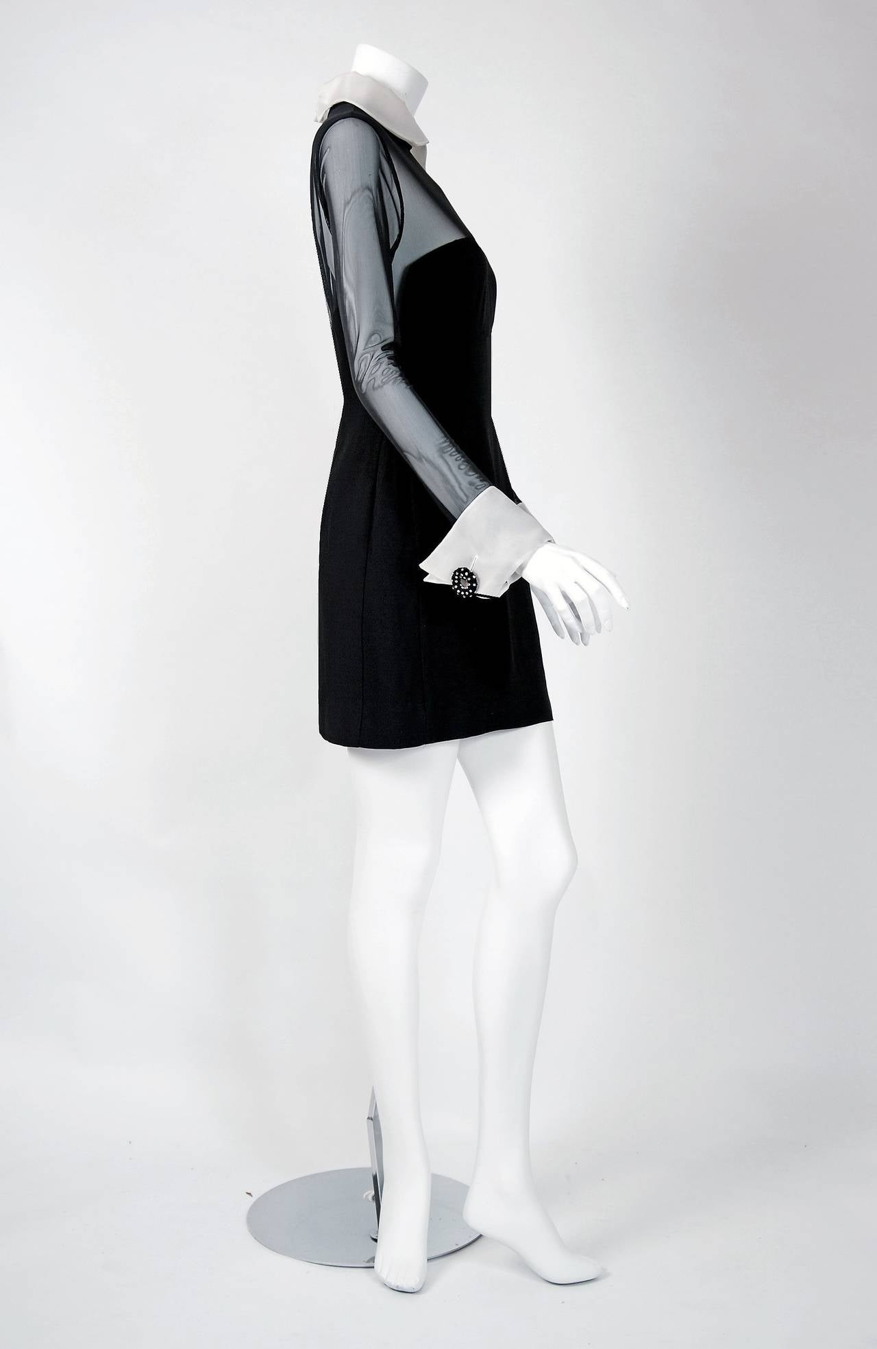 1990's Christian Dior Black Strapless-Illusion Collar & Cuffs Mini Party Dress 4