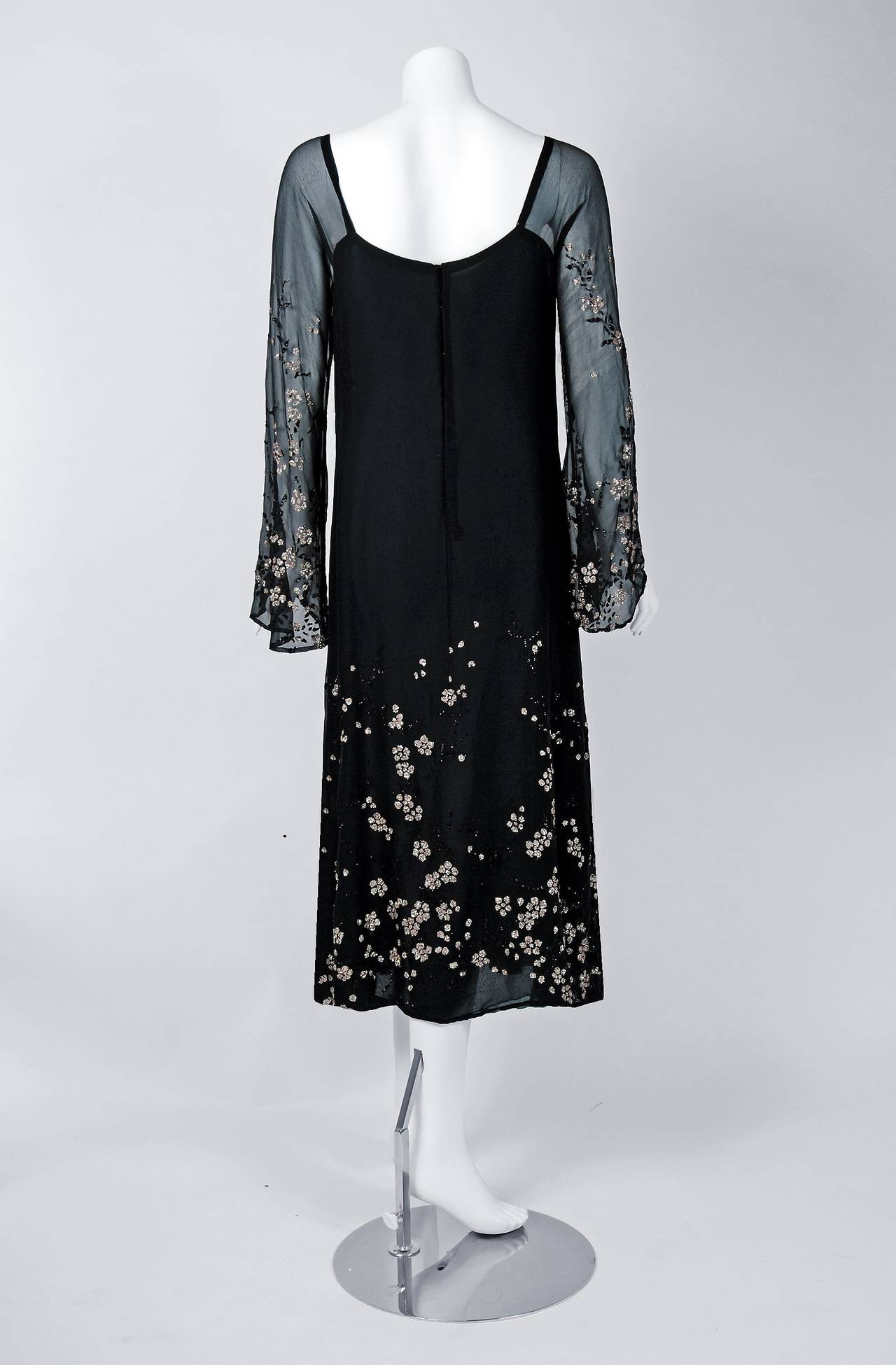 1970's Pauline Trigere Black Silk-Chiffon Glitter Illusion Bell-Sleeve Dress 5