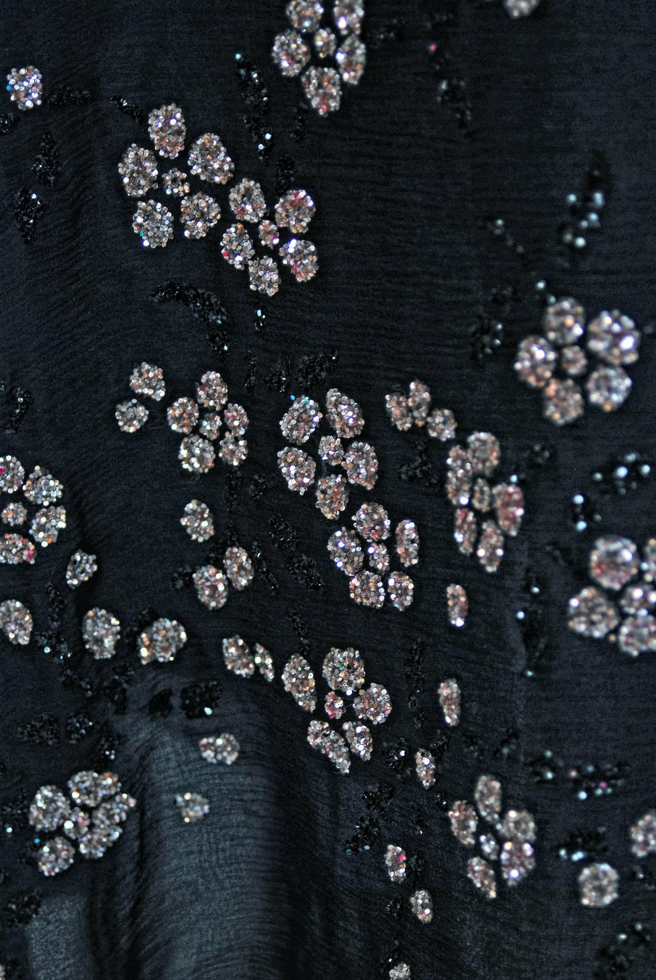 1970's Pauline Trigere Black Silk-Chiffon Glitter Illusion Bell-Sleeve Dress 4