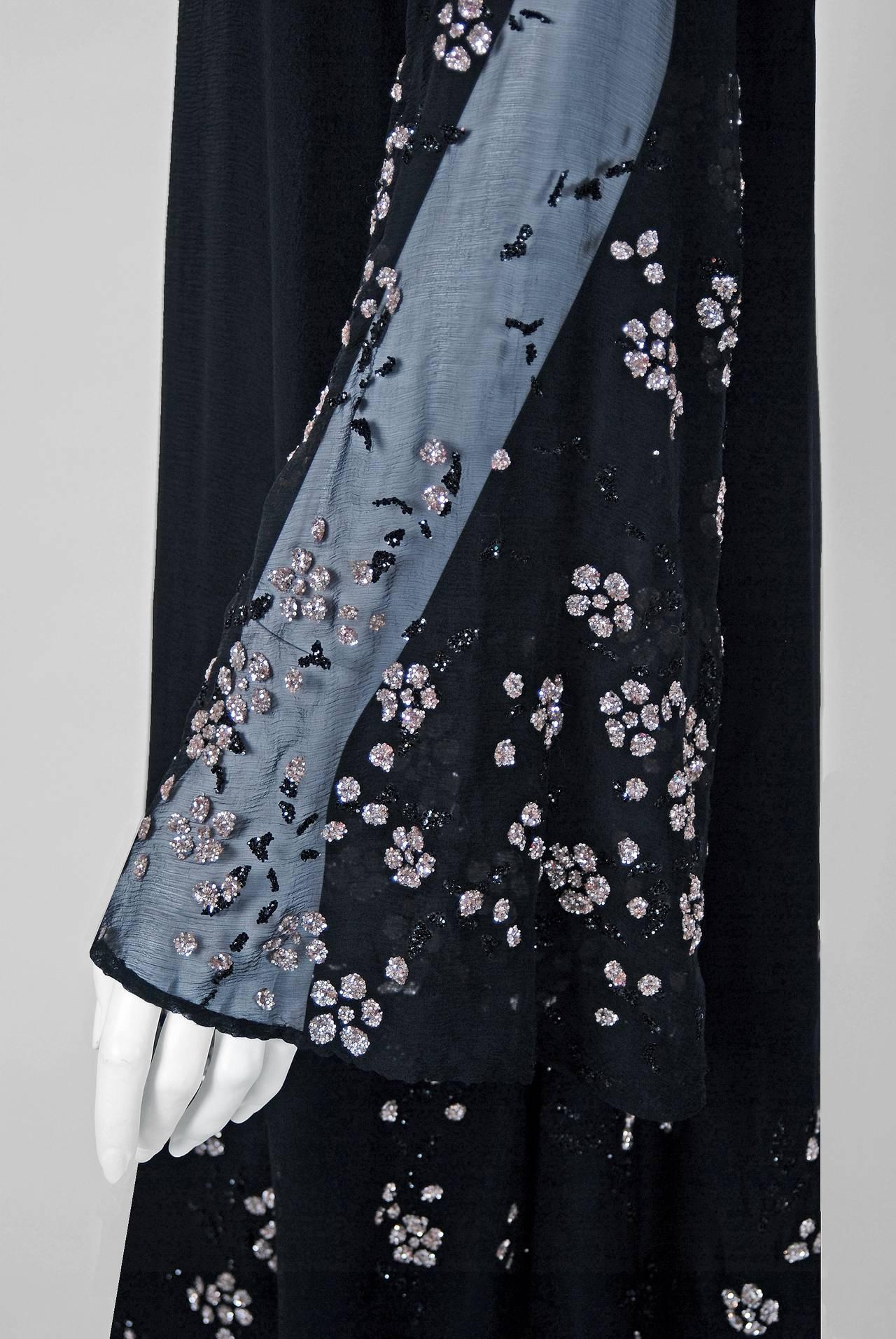 1970's Pauline Trigere Black Silk-Chiffon Glitter Illusion Bell-Sleeve Dress 3