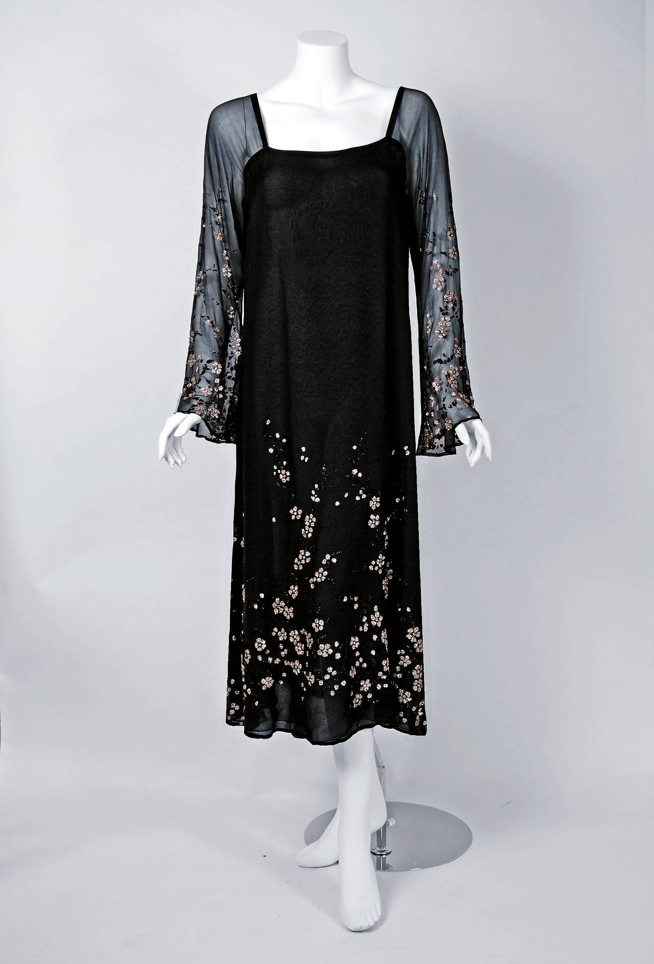 1970's Pauline Trigere Black Silk-Chiffon Glitter Illusion Bell-Sleeve Dress 2