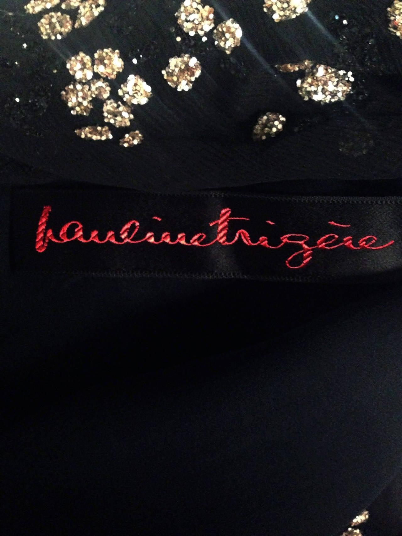 1970's Pauline Trigere Black Silk-Chiffon Glitter Illusion Bell-Sleeve Dress 6
