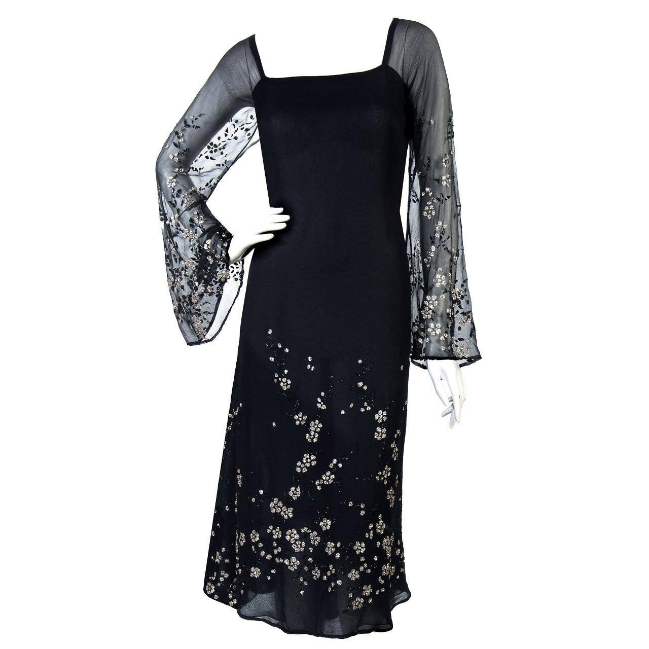 1970's Pauline Trigere Black Silk-Chiffon Glitter Illusion Bell-Sleeve Dress 1