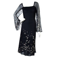 1970's Pauline Trigere Black Silk-Chiffon Glitter Illusion Bell-Sleeve Dress