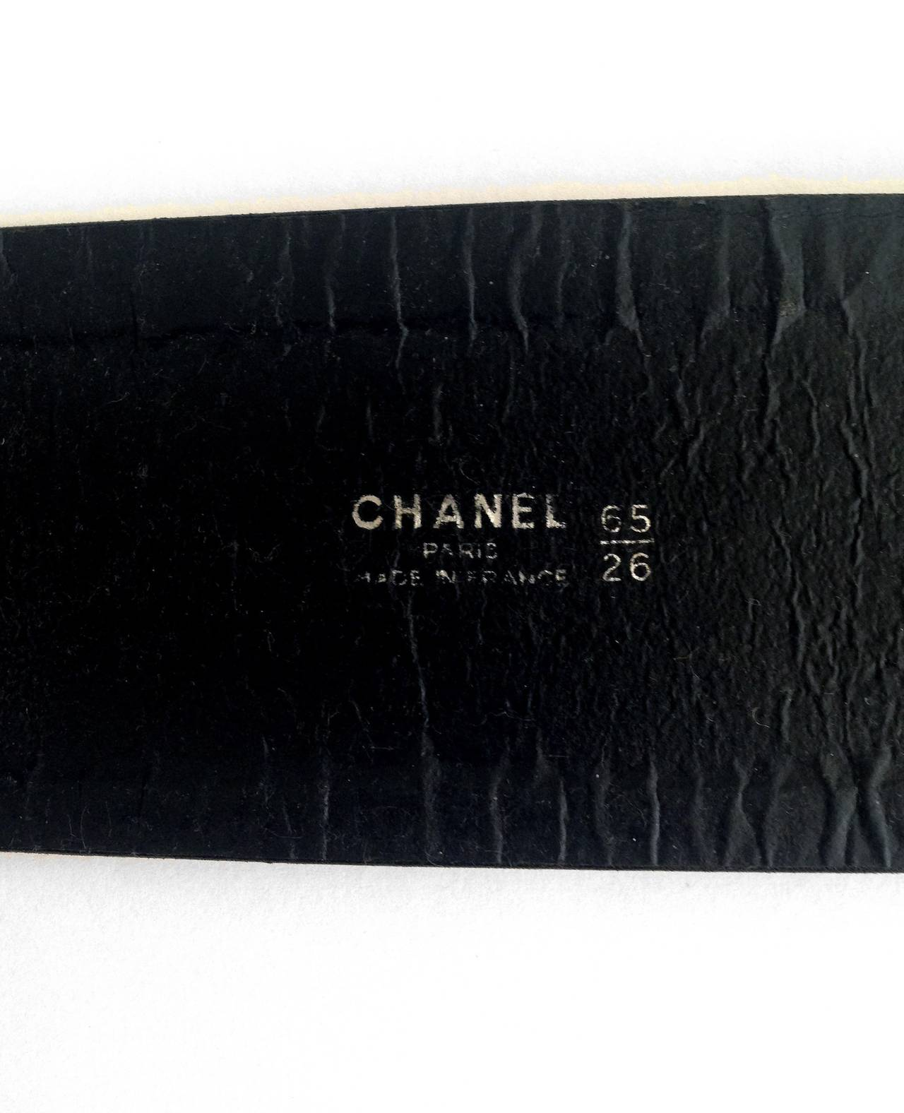 1990's Chanel Black Leather & Gold Hardware Double-Buckle Wide Waist Belt 3