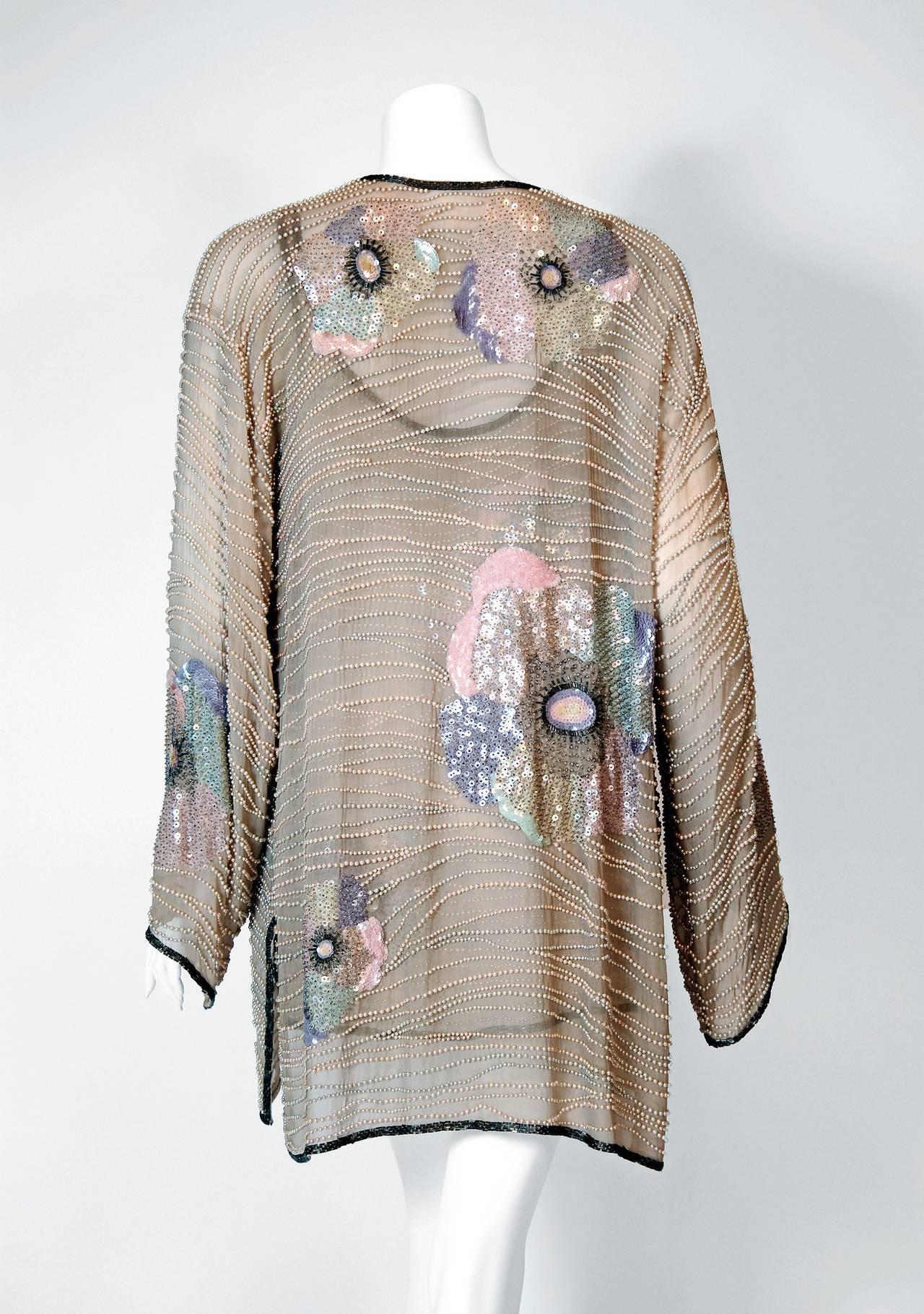 1970's Halston Beaded Sequin Pastel Floral Silk Kimono Bell-Sleeve Jacket Set 5