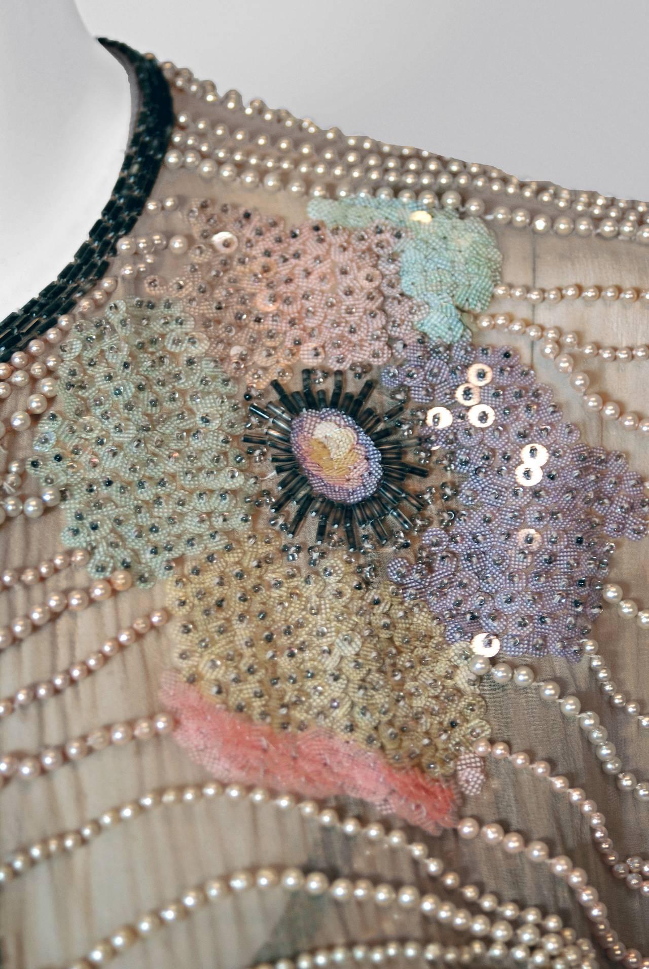 1970's Halston Beaded Sequin Pastel Floral Silk Kimono Bell-Sleeve Jacket Set 3