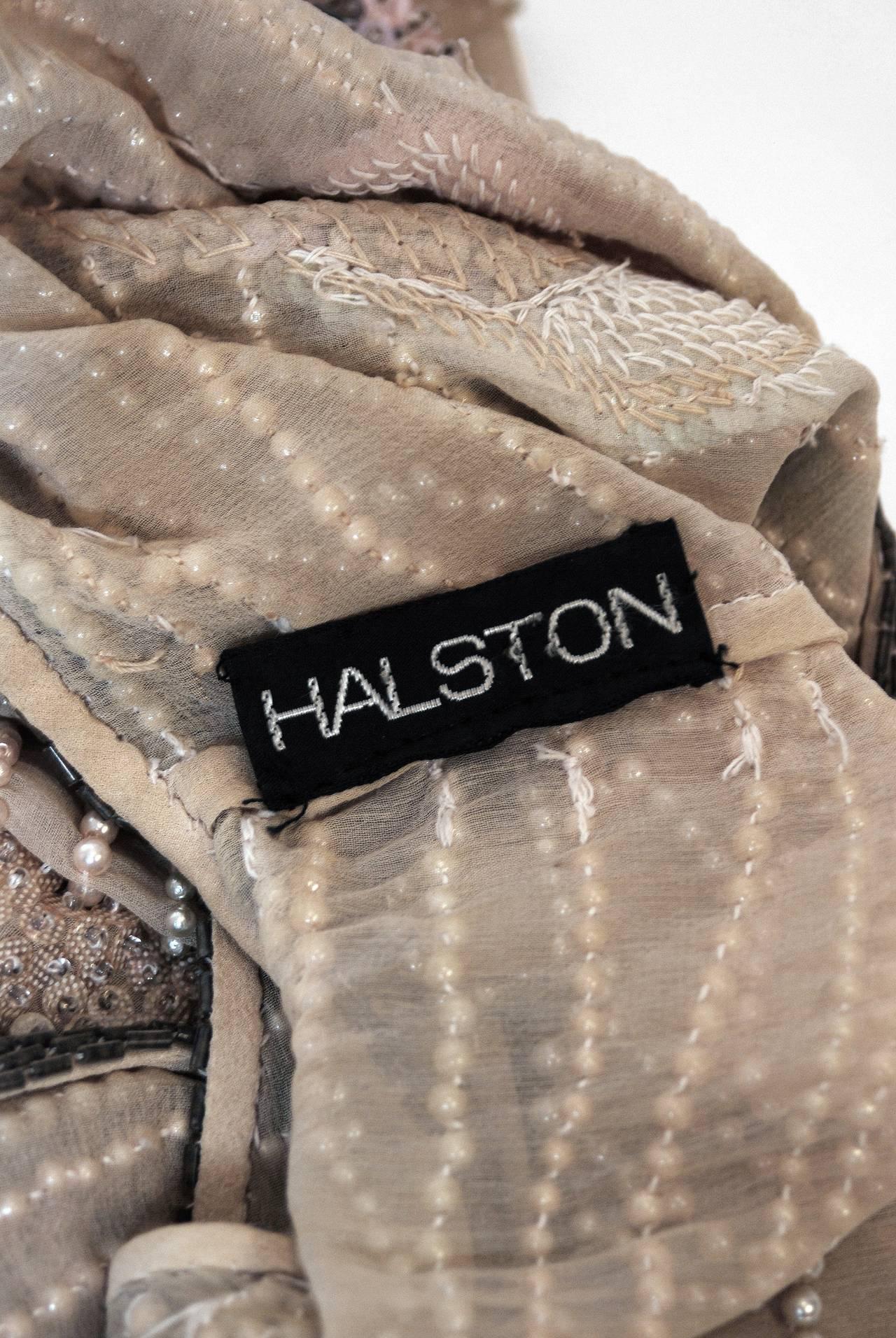 1970's Halston Beaded Sequin Pastel Floral Silk Kimono Bell-Sleeve Jacket Set 6