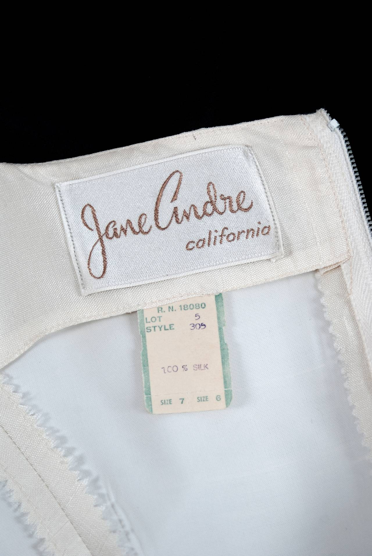 1950's Jane Andre Black & Ivory-White Graphic Silk Sleeveless Full Party Dress 5