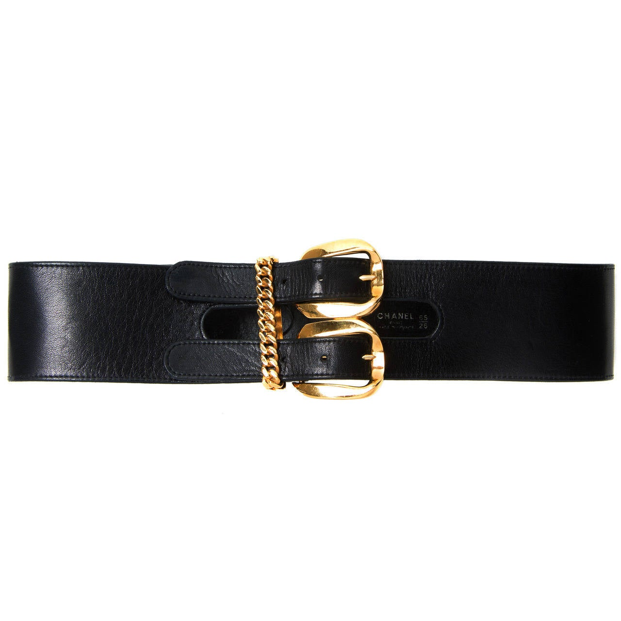 1990's Chanel Black Leather & Gold Hardware Double-Buckle Wide Waist Belt For Sale