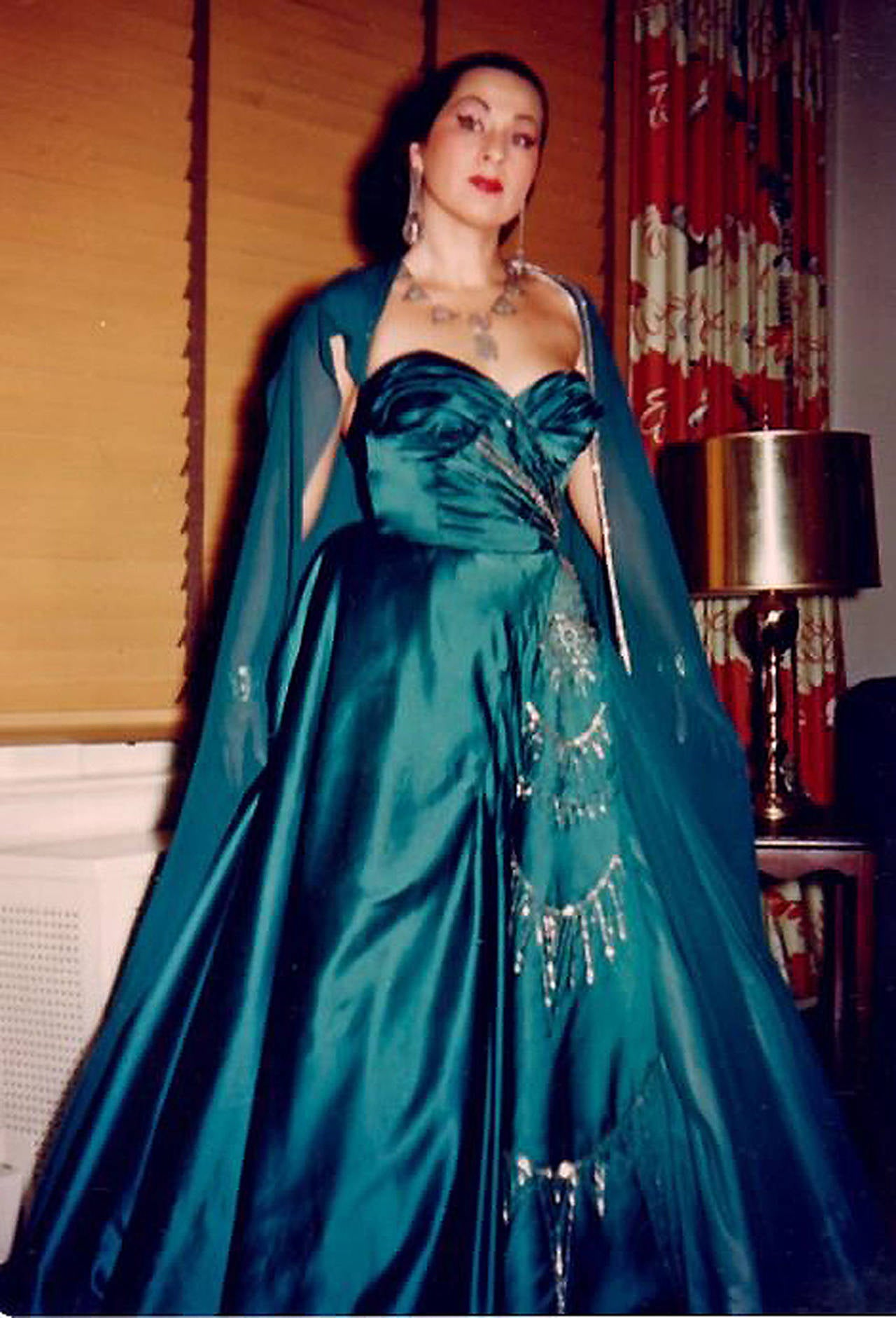 1950's Historical Yma Sumac Beaded Blue Satin & Chiffon Strapless Evening Gown 2