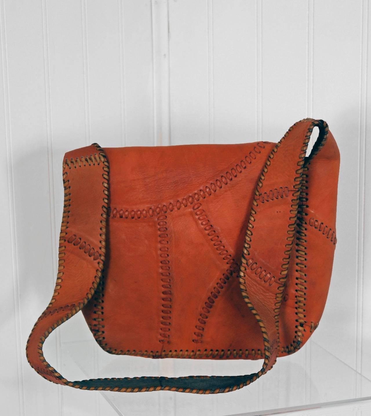 1970's Char Handpainted Whipstitched Leather Bohemian Hippie Messanger Bag Purse 5