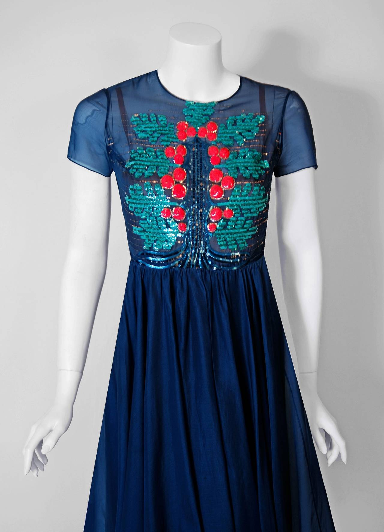 1950's Madame Gres Haute-Couture Beaded Sequin Navy Silk ...