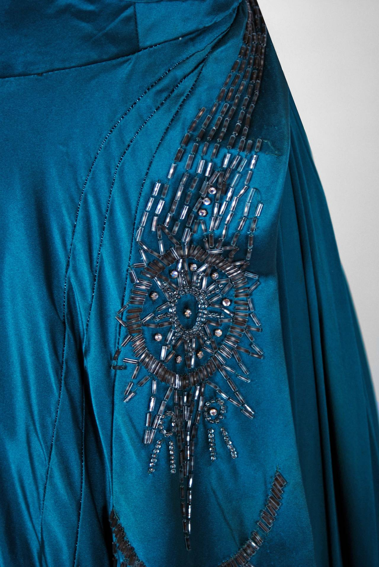 1950's Historical Yma Sumac Beaded Blue Satin & Chiffon Strapless Evening Gown 4
