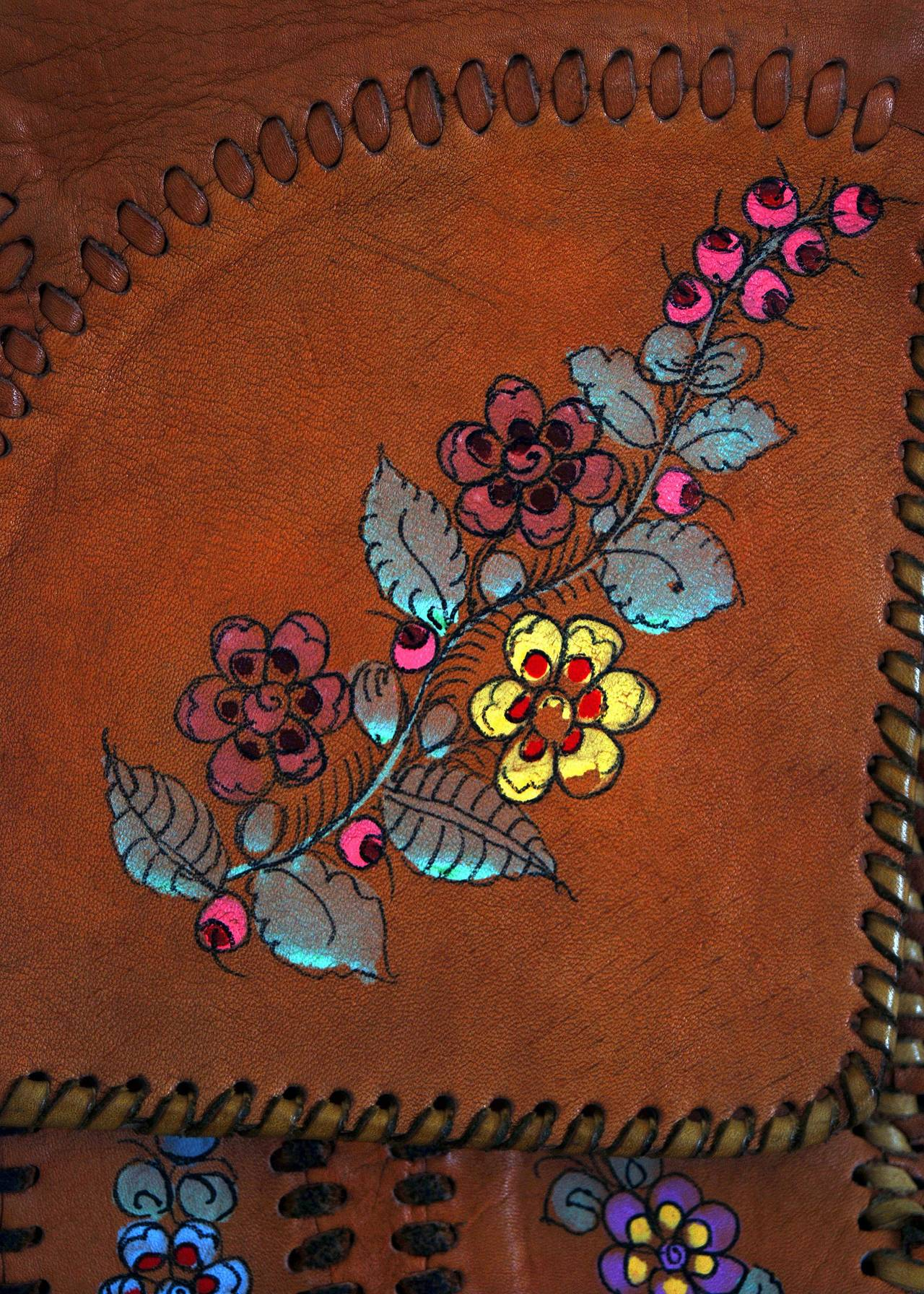 1970's Char Handpainted Whipstitched Leather Bohemian Hippie Messanger Bag Purse 3